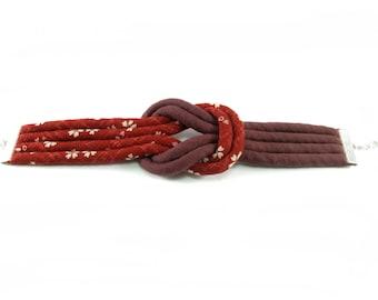 Fabric bracelet, Japanese print fabric, handmade cotton cord cuff bracelet, Red flower fabric jewelry,  Large cuff bracelet, Sterling silver