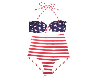 ON SALE! Retro High Waisted bikini! Red White and Blue Stars and Stripes High Waist design! Beautifully Retro Pin-up Style!