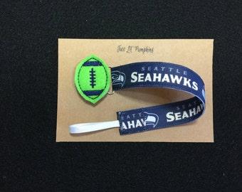 Seattle Seahawks Inspired Football Universal Pacifier Clip for Baby Girl  Boy - Football Feltie - Shabby Flower - Colored Enamel Clip