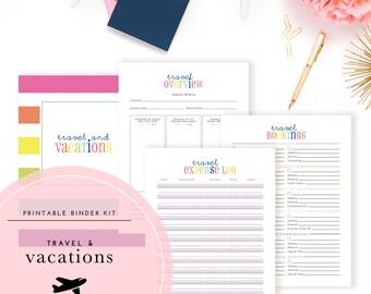 Vacations & Travel Binder Kit PDF - A Printable PDF