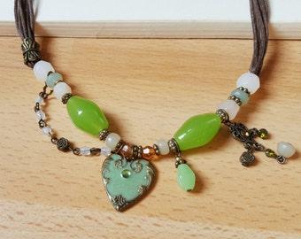 Vintage Old Necklace, Beaded Necklace, Boho Necklace, Necklace Pendant.