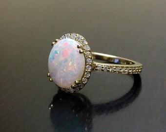 14K Yellow Gold Diamond Opal Engagement Ring - Art Deco Yellow Gold Opal Halo Diamond Wedding Ring - Yellow Gold Diamond Ring - Opal Ring