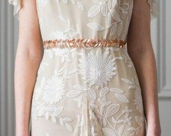 Laurel Leaf Sash, Rose Gold, Wedding Sash, Bridal Belt, Leaf Sash, Leaf belt, Bridal sash, grecian, boho sash, Wedding belt, bohemian #400