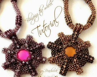 """Beading pattern """"Blinging the wheel"""" Necklace in English   D.I.Y"""