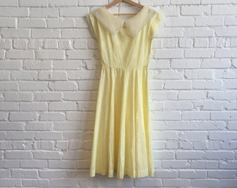 1940s Yellow Organdy Dress // 40s Dress Large Collar // Vintage 40s Dress