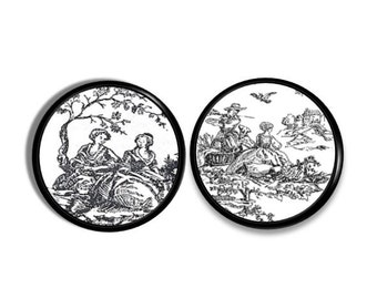 Etched Black and White Victorian Toile Drawer Pulls - Scenic, Tree, Women, Shabby Cottage, Chic Country French, Dresser, Knob - 315D28
