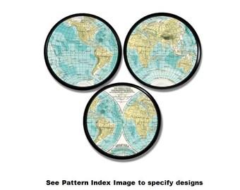 Hemispheres World Map Drawer Knobs - Globe, Atlas, Desk, Office Decor, Den, Mens, Teal, Black, Cabinet Pull, Decoupage, Handles - 215A16
