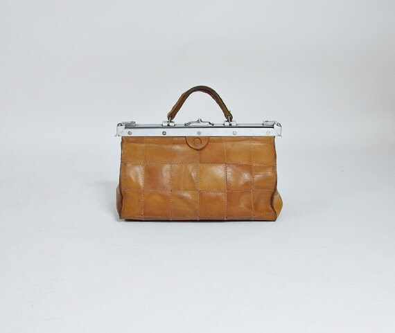 SALE! 70/80s Patchwork Honey Brown Leather Doctor's Hand Bag