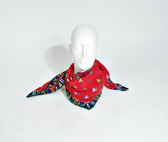 SALE - 80s Codello Sailing Yacht Club Silk Scarf