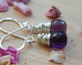 amethyst dangle earrings in sterling silver - wire wrapped jewelry