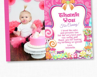 Sweet Shoppe Thank You Card, Thank You Card, Printable Cards, Sweet Shoppe, Candy, DIY, Baby Girl, Baby, Pink, Paper Goods, Birthday Card