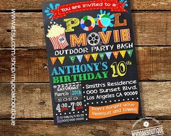 Movie pool party invitation pool birthday bash invite outdoor movie chalkboard digital printable invitation you print invite 14121