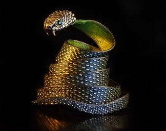 ADDER belt, Green... snake, belt buckle