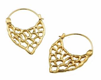 Modern Gold Earrings Hoop, Boho Earrings, Honey Comb Earrings, Beehive, Gold Plated Earrings, Boho Chic Jewelry, Gift For Her