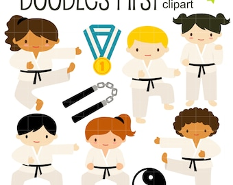 Karate Kids Clip Art for Scrapbooking Card Making Cupcake Toppers Paper Crafts