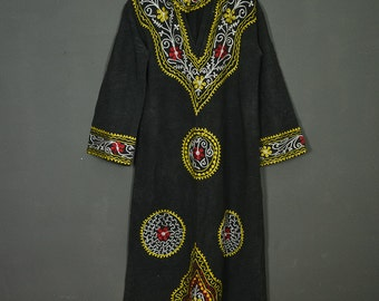 Vintage Indian embroidered maxi-dress with a hood