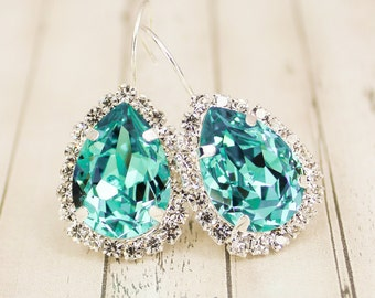 Teal Bridal Earring Bridal Jewelry Bridal Earring Teal Bridesmaid Jewelry Teal Bridesmaid Earring Teal Earring Oasis Light Turquoise Ice Blu