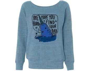 Wideneck - Mr. Narwhal Elf - Christmas Sweatshirt Sweater Ladies Womens