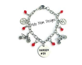 Motocross Bracelet - Motocross Jewelry - Motocross Gift - Dirt Bike - Moto Mom - Motocross - Charm Bracelet - Personalized - Quad - Racing