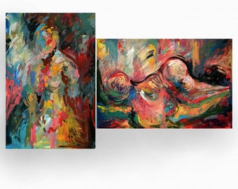 FIGURE painting collection - buy 2 and get 1 half of the price! An Original Painting on wood by Kelli Gedvil 120 x 80 cm / 47 x 31 inches