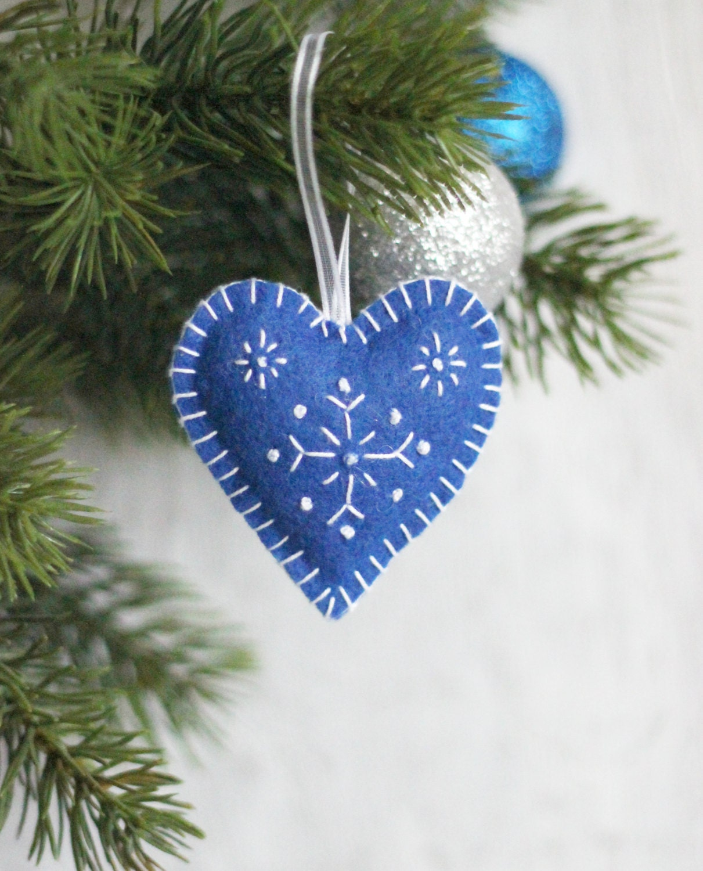 Set of blue felt hearts with snowflakes xmas heart christmas