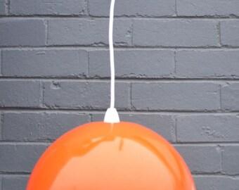 Vintage Orange plastic pendant light funky