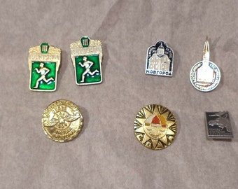 Russian Pins, Soviet Pins, Jewelry Pins, Vintage Collection of Lapel Pins