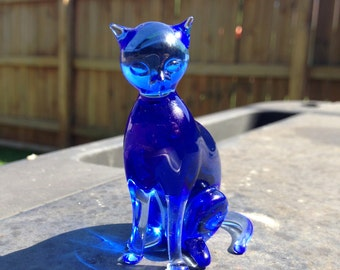 Vintage Blown glass cat GKL studio art glass made in Germany
