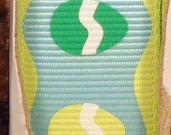 """2 Yards 7/8"""" Blue Simple Scalloped Edge Easter Egg Print Grosgrain Ribbon"""