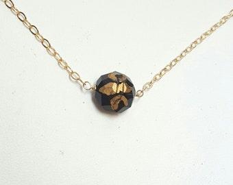 Hand-painted Fleur de lis necklace