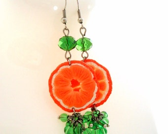 Orange Earrings, Dangle Earrings, Polymer Clay Jewelry, Handmade