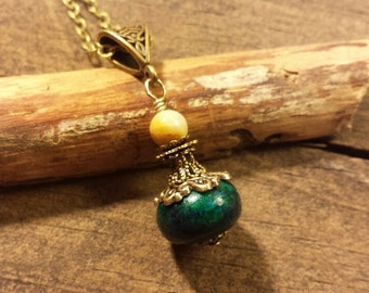 Pendant Necklace, Turquoise Necklace, Victorian Necklace