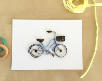 Quilling Paper Blue Bicycle Home Decor, Vintage Blue Bike, Blue Bicycle Decoration, Bike Wall Art, Kids Bicycle Art, Cycling Art Decor
