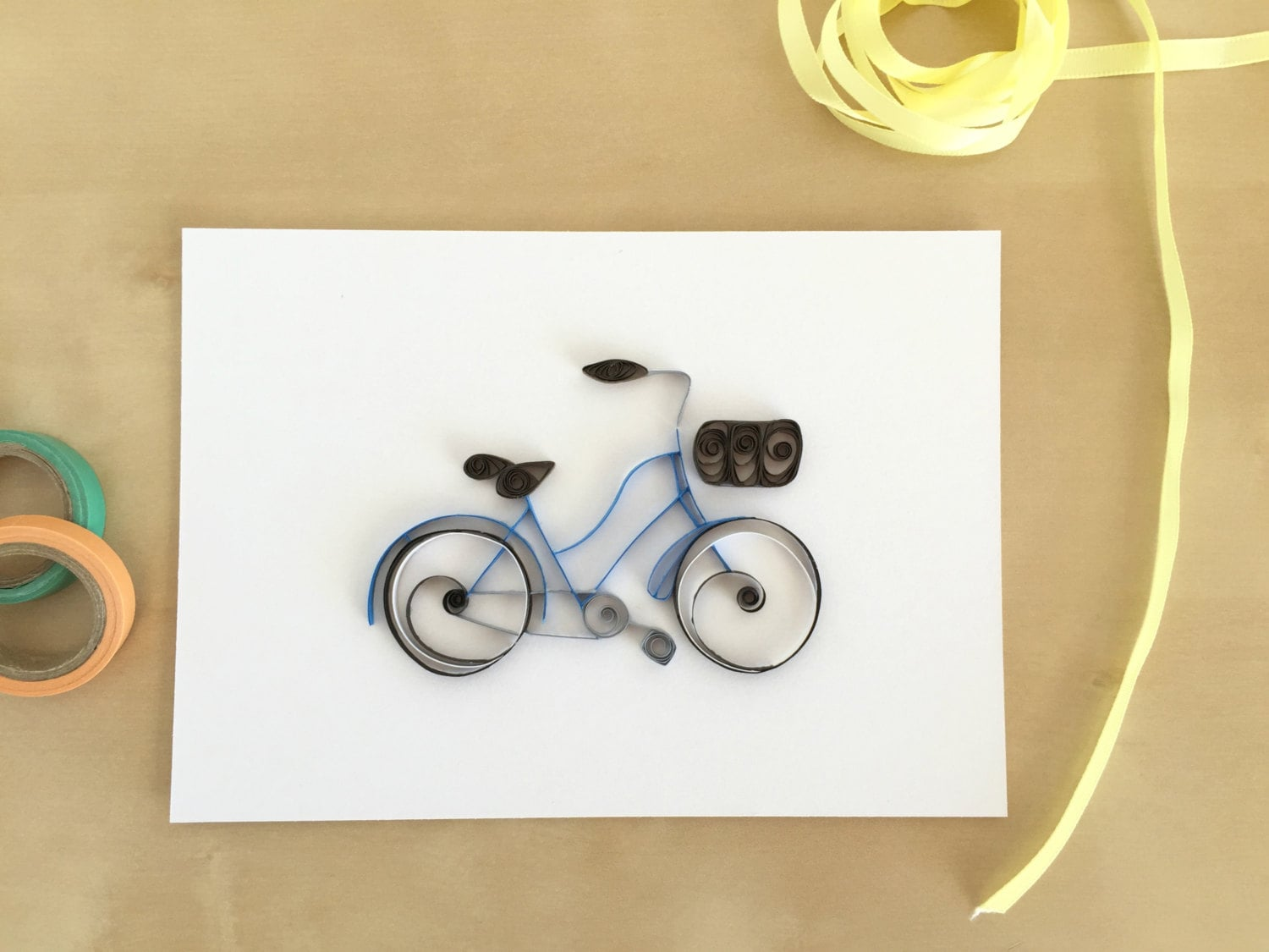 Quilling Paper Blue Bicycle Home Decor Vintage Blue Bike