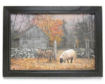 Primitive Picture, Autumn Sweater, Sheep, Fall, Country Home Decor, Wall Hanging, Art Print, Handmade, 21x15 Custom Wood Frame, Made in USA