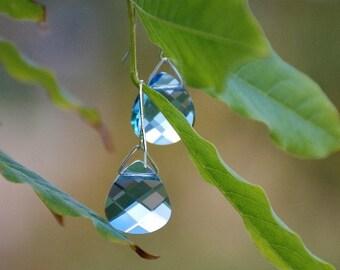 Blue Swarovski drop earrings Light blue Dangle Earrings Sterling silver earwire earrings Swarovski jewelry