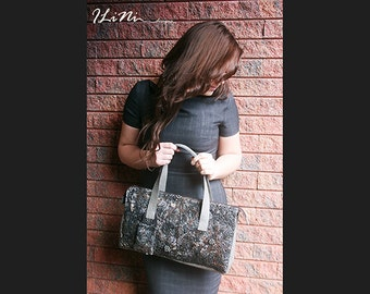 Little Black Pearl - OOAK handmade leather handbag with altered fabric in black and grey