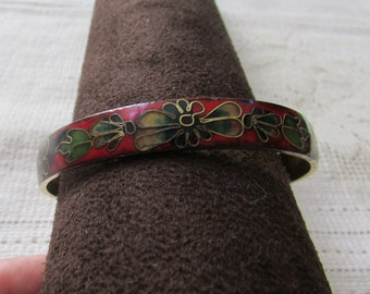 Vintage 60's black and red  cloisonne bangle bracelet estate find