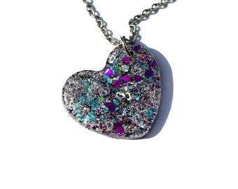 Colorful Jewelry Glitter Heart Pendant Gift for Her Holographic Necklace Cute Fairy Kei Galaxy Jewelry Unique Necklace