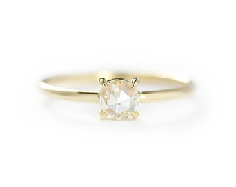 14k Solid Gold Rose Cut White Diamond Engagement Ring,Solitaire Rose Cut Engagement Ring