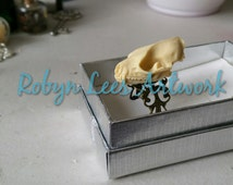 Large Resin Bat Skull Adjustable Bronze Filigree Ring, Animal Anatomy, Vampire Gothic Anatomical