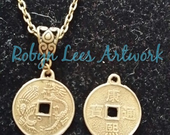 Lucky Bronze Chinese Coin Necklace on Filigree Bail