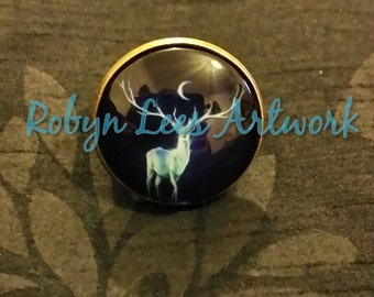 Moonlight Midnight Deer Stag Fully Adjustable Bronze Ring with Moon