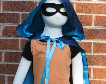 Hooded Cape, Navy and Aqua Satin, Brave Inspired