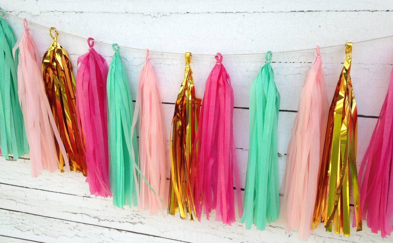 Pink Mint Tassel Garland Kit Rustic Chic Wedding Decor Bridal