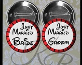 "Honeymoon Buttons, 2.25"" Just Married Pins, Bride and Groom Pins, Bride and Groom Just Married Pins, Wedding Keepsake"
