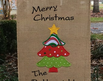 Christmas Burlap Garden Flag-Christmas Yard Flag-Holiday Christmas Tree Garden Decor-Personalized Flag-Monogrammed Flag