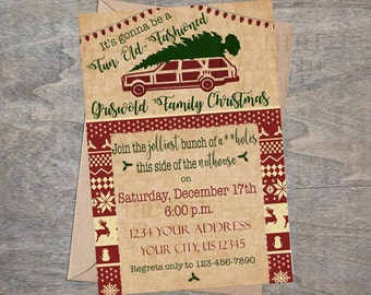Christmas Vacation Invitation | Griswold Christmas party invitation Station Wagon Tree Winter Ugly Sweater