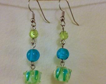 green and blue glass dangle earrings
