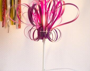 Lampe à poser, lampe design, lampe sur pied, lampe en polypropylène violet aubergine, lampe en kit